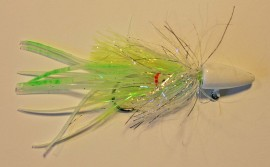 White w Lime  Green Spots/Glow Hootchie Twitching Jig