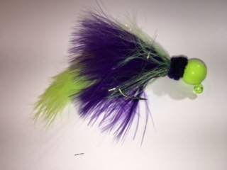 Green/Purple-Chartreuse Marabou Salmon Twitching Jig w Green Chartreuse Zonker Tail
